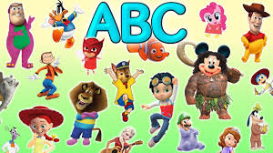 learn alphabet with popular cartoon characters abc for kids