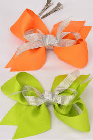 hair bow center hair bow large grosgrain bow center silver bowtie orange lime