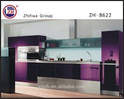 elegant purple color kitchen cabinet furniture with tall basket