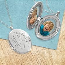 personalized photo pendant necklace silver locket necklace personalized with engraved script monogram