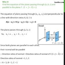 misc 8 find equation of plane passing a b c