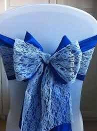 royal blue chair covers white spandex chair cover with royal blue bow and lace sashes