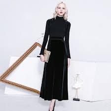 vintage designer dresses high quality long sleeve ankle length