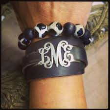 monogrammed bracelet sterling silver monogrammed rugged leather wrap bracelet monogram