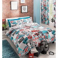 Map Bedding Just Contempo Retro Travel Duvet Cover Set Super King Teal