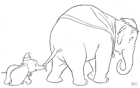 dumbo walks with his mother coloring page free printable