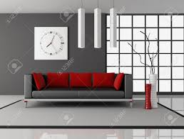black and red living room with leather couch with pillow