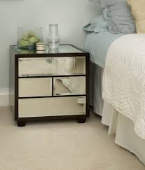 nightstand mirrored accent table with four drawers for bedroom