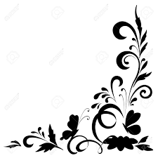 abstract floral background with flowers and butterflies black