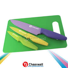 plastic knife new design 3pcs kitchen knife plastic knife set with cutting board
