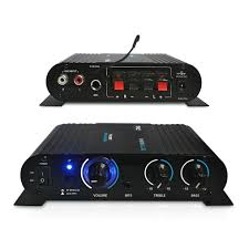 compact home theater receiver pyle 90 watt 8 ohm bluetooth mini blue compact home studio class t