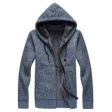 mens sweater fleece solid hooded cardigan zipper plus size m