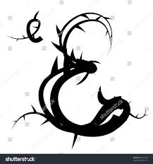 gothic spiky floral vector alphabet capitallowercase stock vector