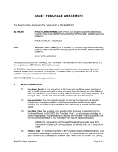 asset purchase agreement simple template u0026 sample form biztree