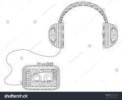 coloring book listen player headphones coloring book adults raster stock illustration