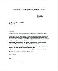 free formal job change resignation letter template templatezet