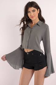 white bell sleeve blouse grey blouse collared shirt bell sleeve tops 34 tobi us