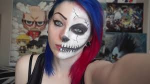 half face halloween makeup ideas half face skeleton make up tutorial youtube
