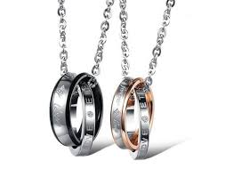 metal ring necklace images Couple quot forever love quot double ring from bling bling jpg