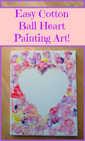 cotton ball heart painting crafts for kids sunshine whispers