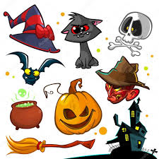 vector set of halloween pumpkin and attributes icons witch cat