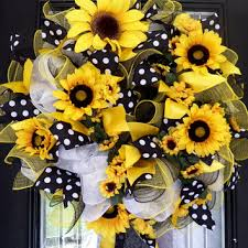sunflower mesh wreath shop deco mesh sunflower wreath on wanelo