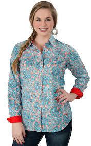 ariat women u0027s harper orange u0026 turquoise paisley print long sleeve