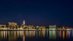wallpapers city of split croatia canal palms night time cities
