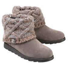 s boots overstock s muk luks ankle boots with sweater knit cuff light gray