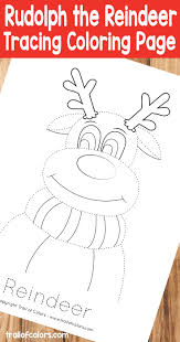 rudolph reindeer tracing coloring trail colors
