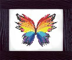 colorful butterfly counted cross stitch pattern pinteres