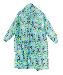 kids raincoat with light reflector car machine turquoise