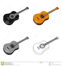 mexican acoustic guitar icon in cartoon style isolated on white