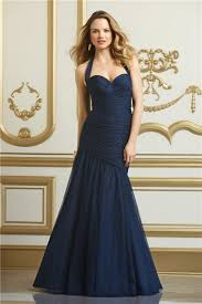 mermaid sweetheart halter navy blue tulle wedding guest bridesmaid