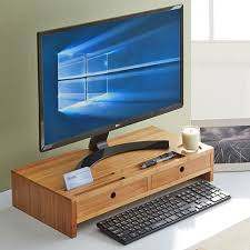 bamboo monitor riser large size laptop tv printer desktop stand