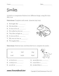 printable simile worksheets language arts pdfs
