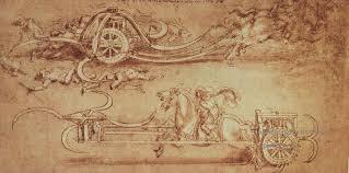 oil paintings of 5 assault chariot with scythes leonardo da vinci