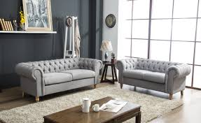Linen Chesterfield Sofa Canterbury Chesterfield Grey Linen Fabric 3 2 Seater Sofa Abreo