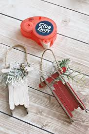 handmade ornaments popsicle stick sleds clean and