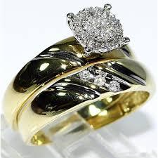 womens gold wedding bands his wedding rings set trio men women 10k yellow gold real diamonds