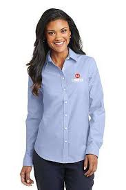 ladies oxford blue button down shirt
