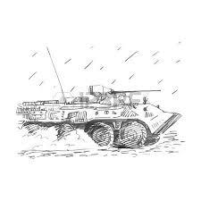 fire support combat vehicle tanks vector freehand pencil sketch