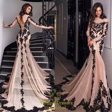 luxury long sleeve embellished lace overlay prom dress with train