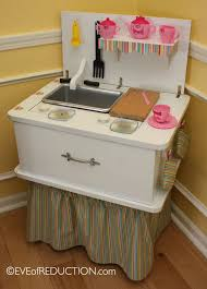 upcycling sewing cabinet repurposed into a child u0027s play kitchen
