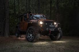 rugged ridge led rock light kit with harness for 07 18 jeep