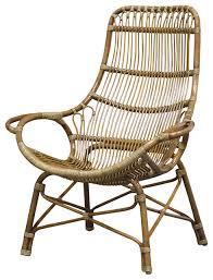 Palecek Chairs Palecek Retro Rattan High Back Lounge Chair Transitional