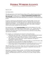 federal workers alliance unions urge congress to oppose hr 1364