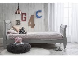 Arid Single Sleigh Bed Frame In Grey