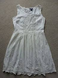 beautiful old navy white cotton dress uk 12 made in india crochet