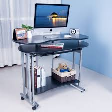 Stylish Computer Desks Folding Computer Desk With Shelf And White Curtains And Blue Color